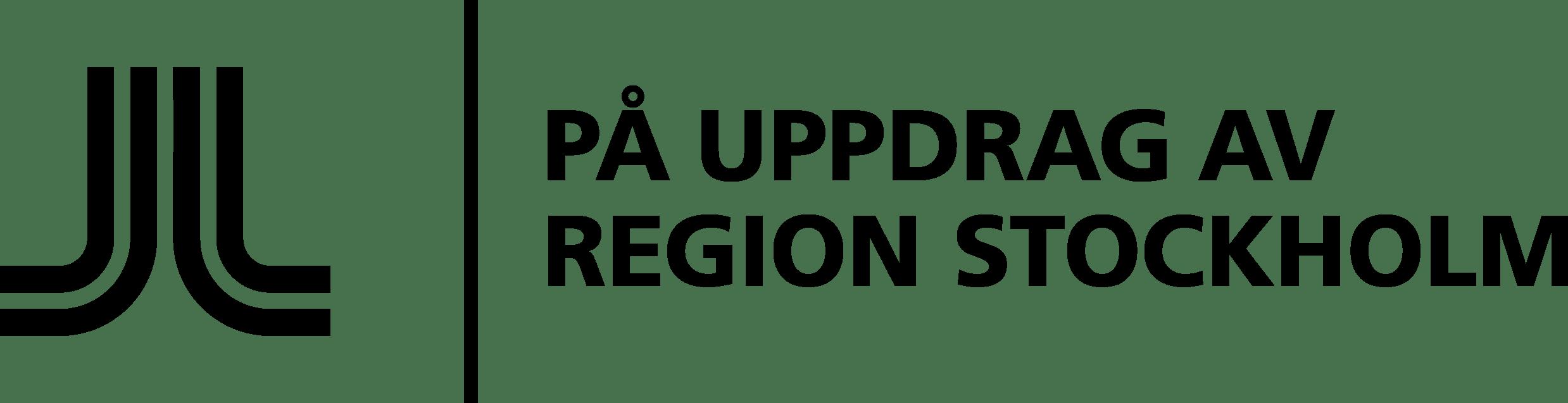 Logotyp med text På uppdrag av Region Stockholm